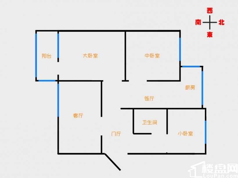 出售葫芦岛龙湾新区一号小区(龙湾市场对面) 3室1厅1卫 92㎡五楼