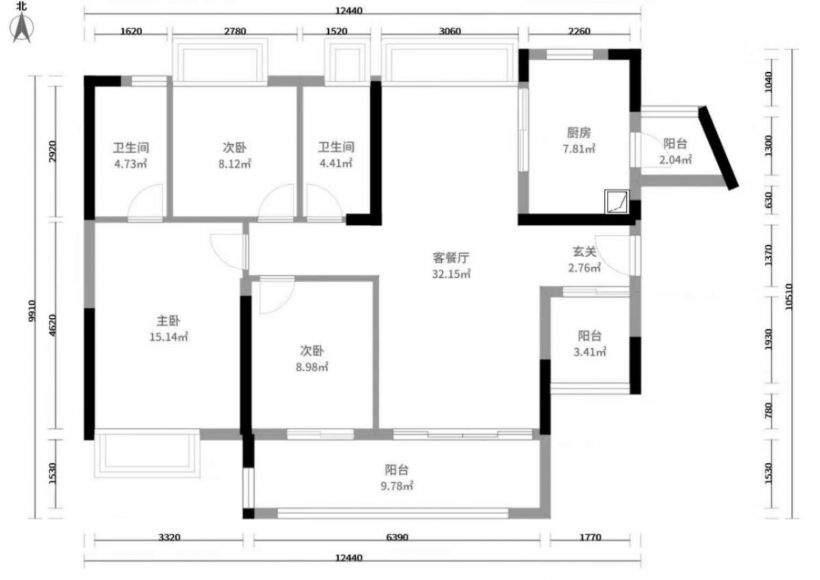 清城保利天汇 3室2厅2卫 一线江景 118方  售145万