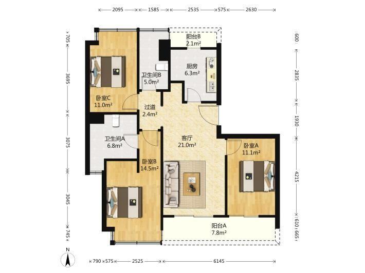 泉秀街 丰盛假日城堡 精装3房2厅 高层 家具家电 看房钥匙