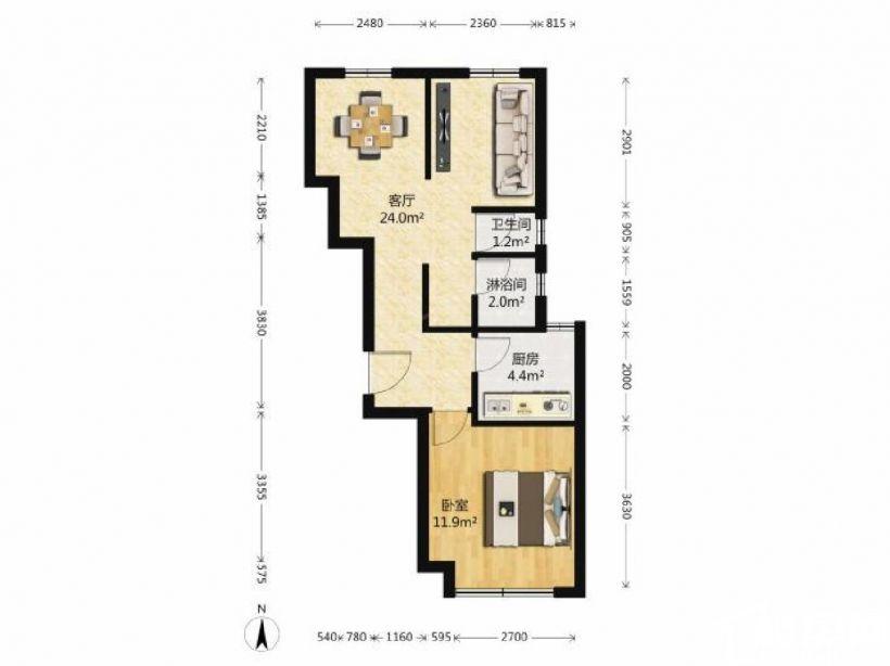浦西万达附近现代中学旁丰华小区一房一厅欧式风格全新装修拎包住