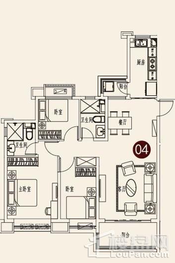 烟台恒大海上帝景7号楼二单元04户型 3室2厅2卫1厨
