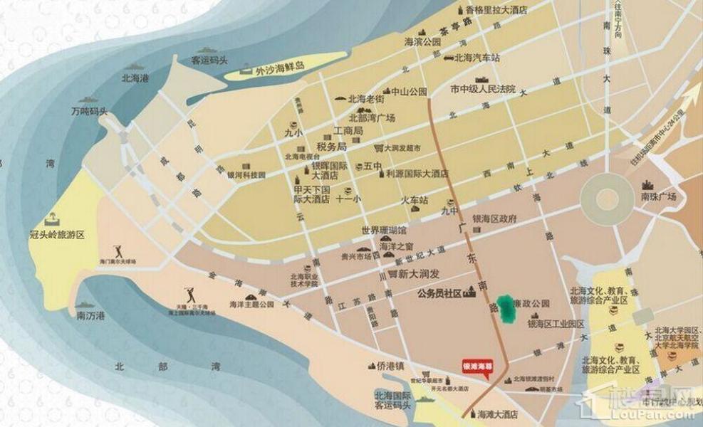 北海银滩海尊区位图