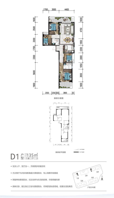 D1户型 3房 135平