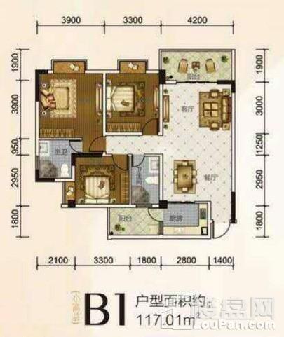 B1户型 3房 117.01平