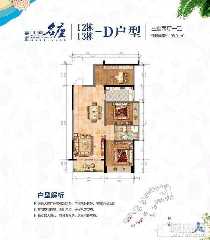 12-13# D户型 三房两厅一卫 95.91㎡
