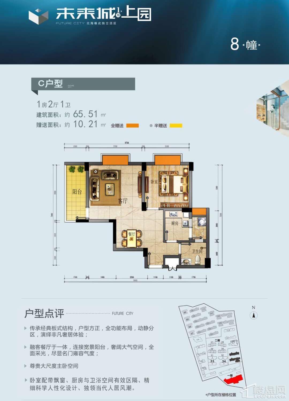 (公寓)8栋 C户型 1房 65.51平 赠送10.21平