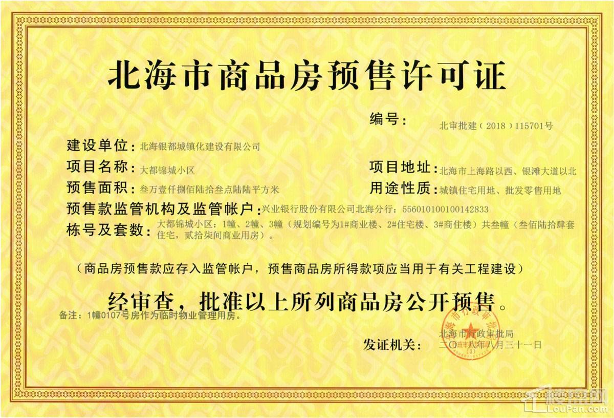 大都锦城1#2#3#预售证