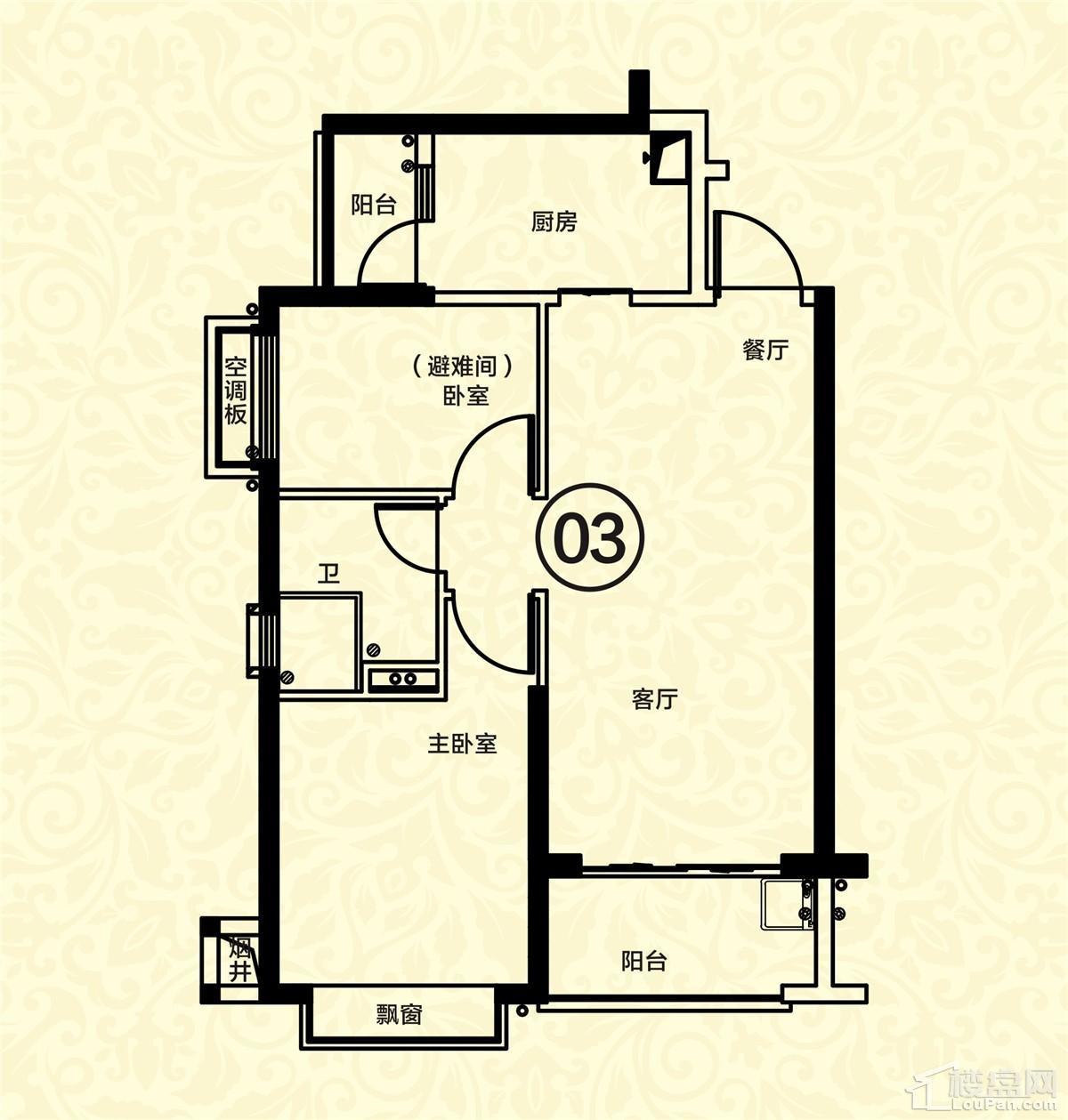16栋二单元02-03户型 2室2厅1卫 约77m²