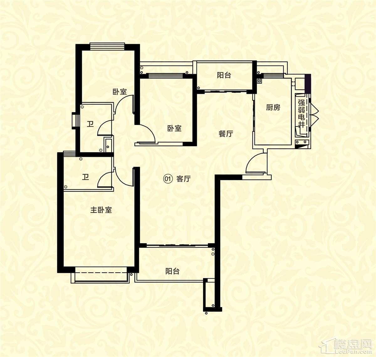 18栋二单元01户型 3室2厅2卫 约126m²