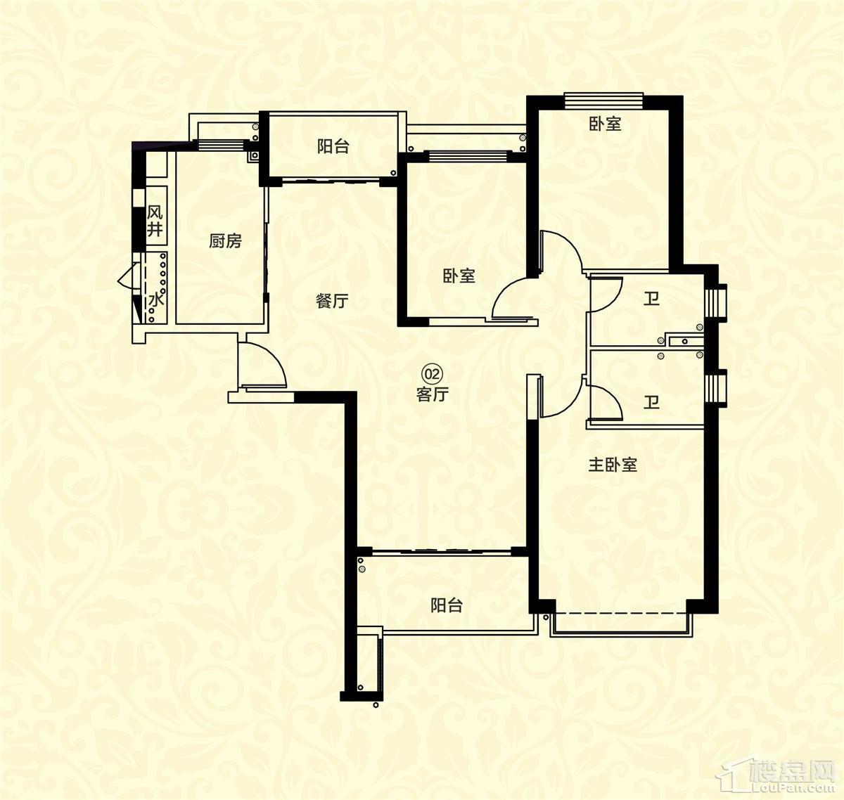 18栋二单元02户型 3室2厅2卫 约136m²