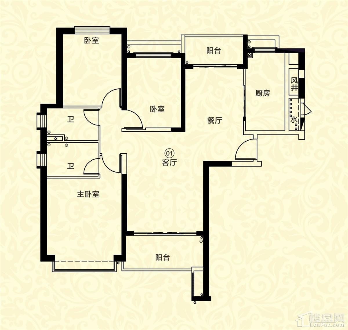 18栋一单元01户型 3室2厅2卫 约136m²