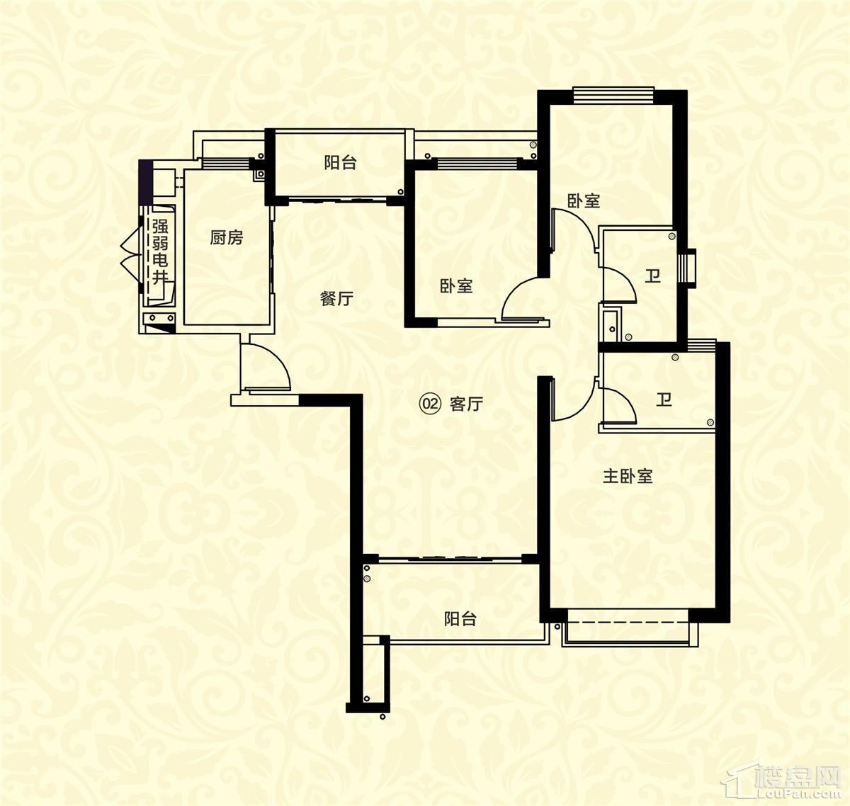 18栋一单元02户型 3室2厅2卫 约126m²