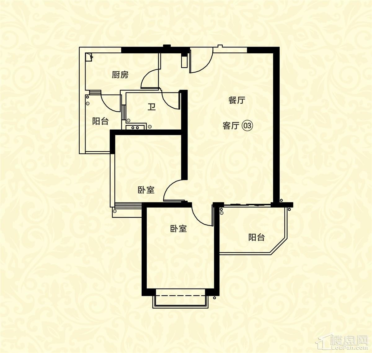 18栋一单元03户型 2室2厅1卫 约87m²