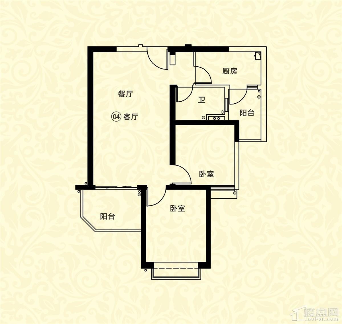 18栋一单元04户型 2室2厅1卫 约87m²