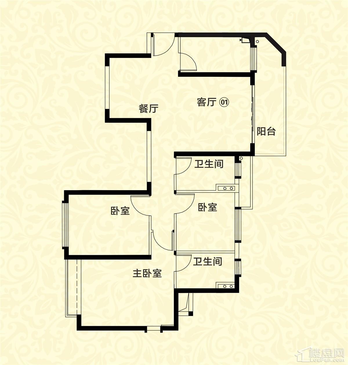 20栋01-06户型 3室2厅2卫 110㎡
