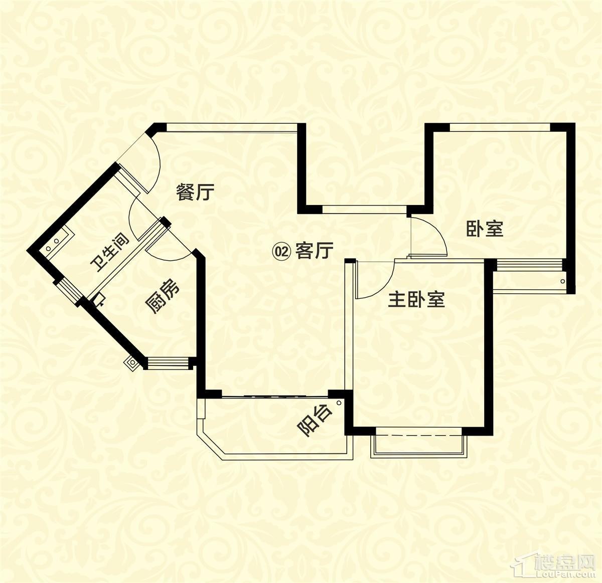 20栋02-05户型 2室2厅1卫 约80m²