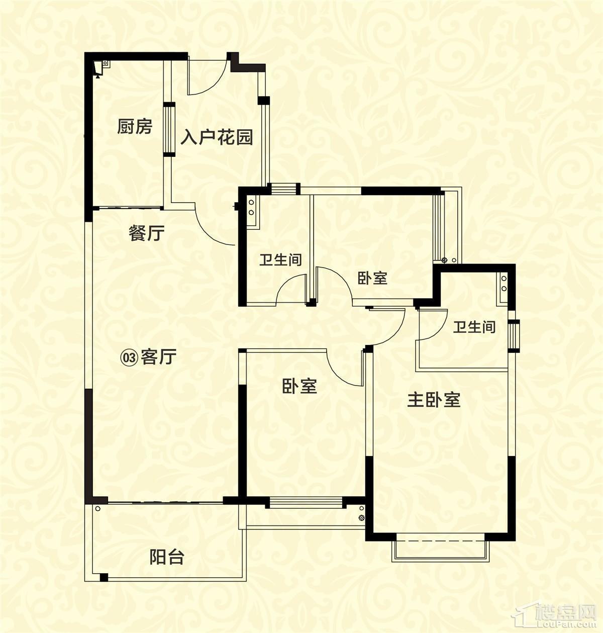 20栋03户型 3室2厅2卫 约123m²