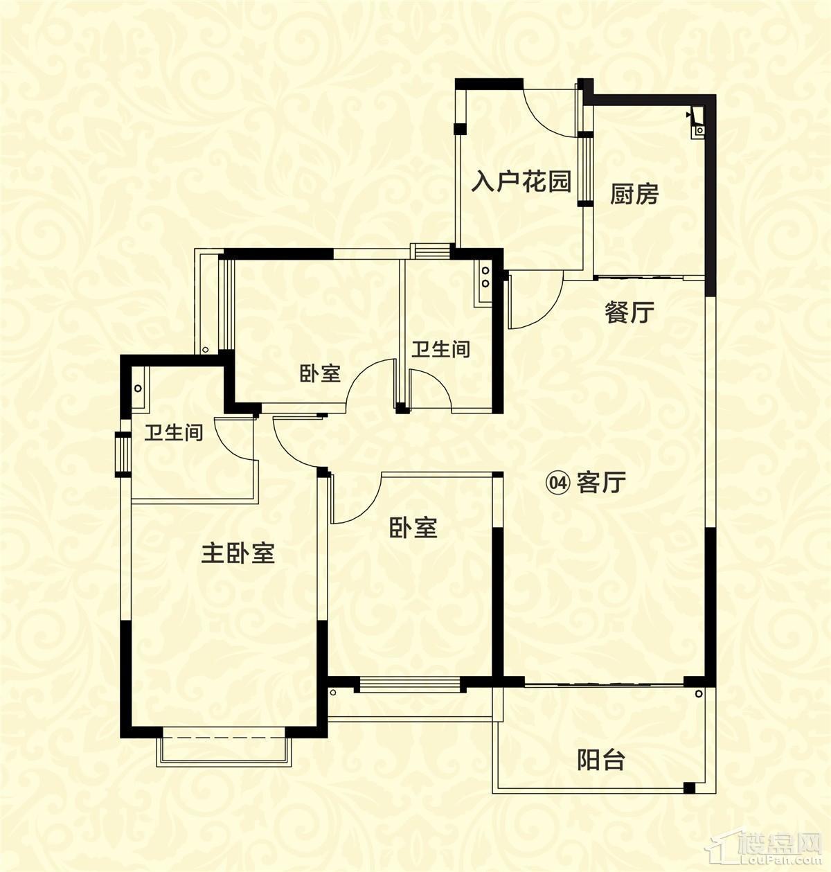 20栋04户型 3室2厅2卫 约122m²