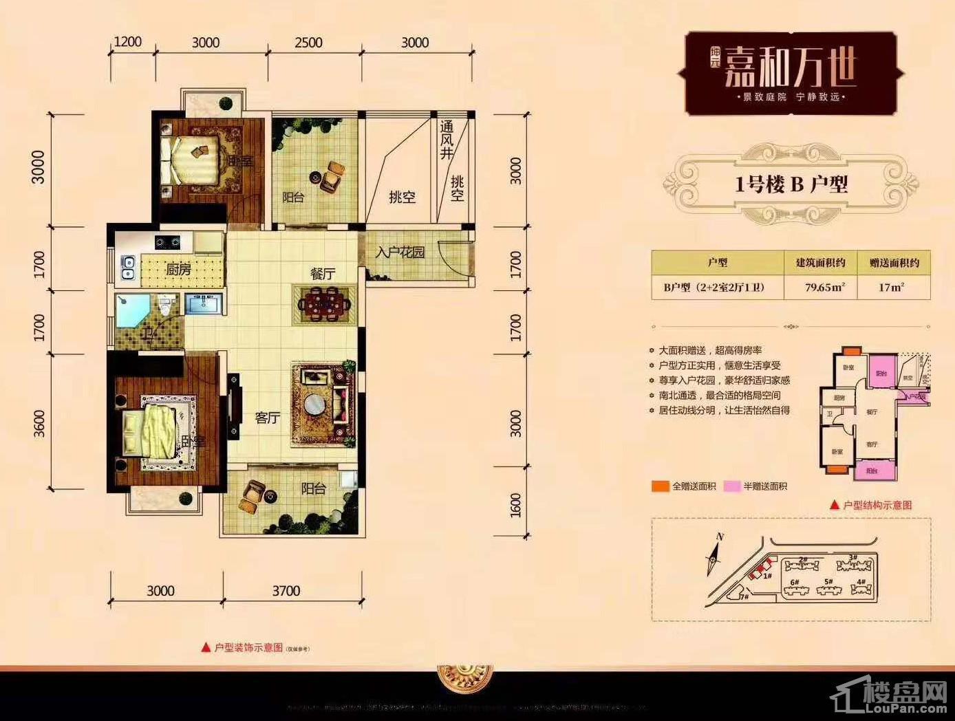 二期1号楼B户型(2+2室2厅1卫)79.65㎡赠送17㎡