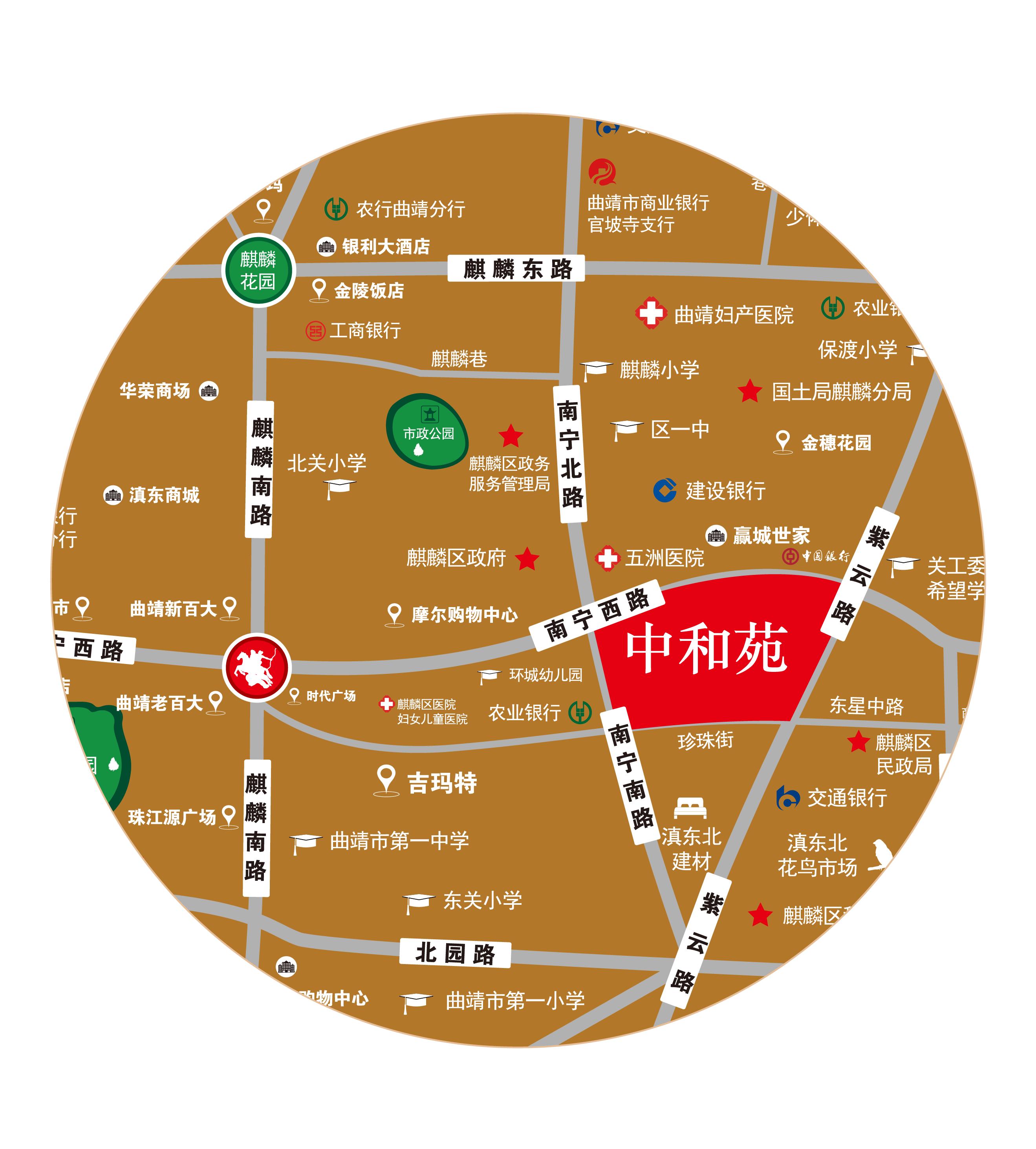 麒麟城投·中和苑位置图