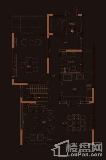 华府天地愉园F1户型地上一层 4室3厅3卫1厨
