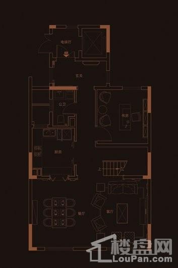华府天地愉园E2-1户型地上三层 5室2厅4卫1厨