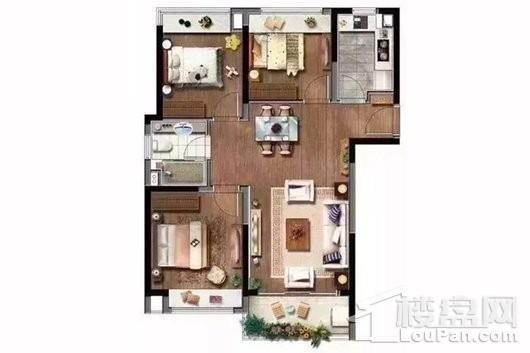 深城投十一街区89平户型 3室2厅1卫1厨