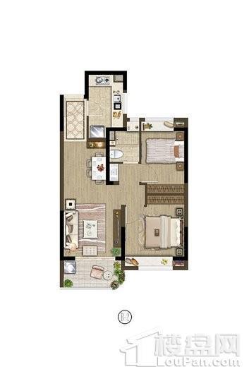保利象屿公园悦府户型B2 71㎡ 2室2厅1卫1厨