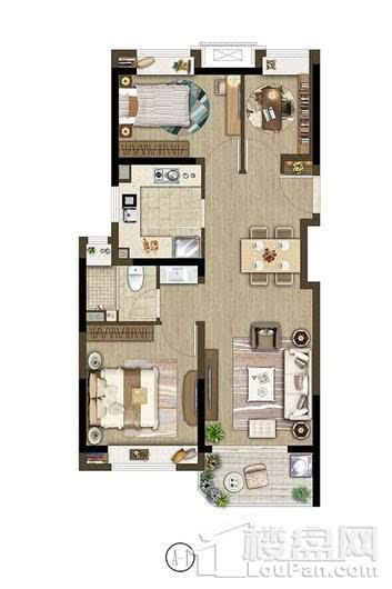 保利象屿公园悦府户型A1 80㎡ 3室2厅1卫1厨