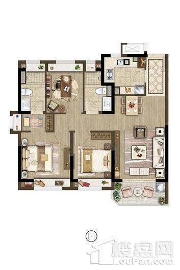 保利象屿公园悦府户型C1 90㎡ 3室2厅2卫1厨