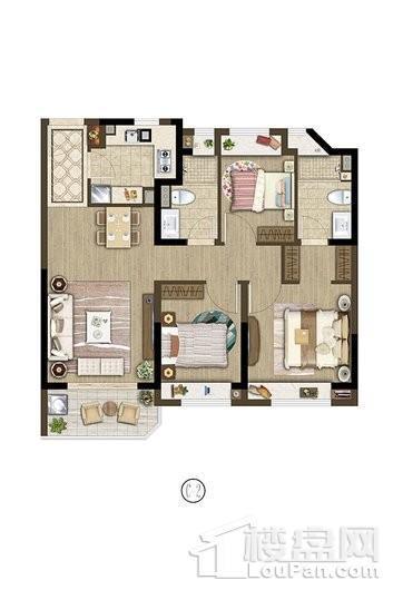 保利象屿公园悦府户型C2 90㎡ 3室2厅2卫1厨