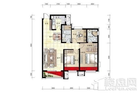 金科中南·集美尚景9#H2户型图 3室2厅2卫1厨