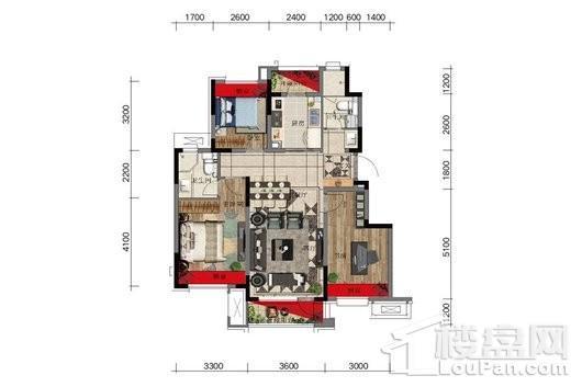 金科中南·集美尚景1#8#户型图标准层 3室2厅2卫1厨