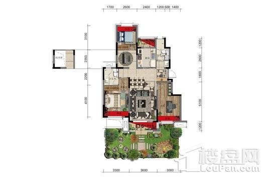 金科中南·集美尚景1#8#户型图一层 3室2厅2卫1厨