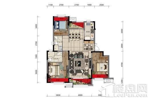 金科中南·集美尚景2#3#4#户型图标准层 3室2厅2卫1厨