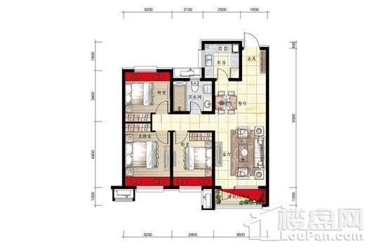 金科中南·集美尚景9#H1户型图 3室2厅2卫1厨
