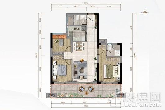 金地·海南自在城二期A3户型 3室2厅2卫1厨