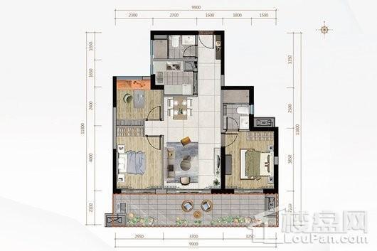 金地·海南自在城二期A2户型 3室2厅2卫1厨