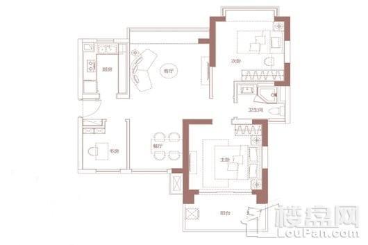 金地·海南自在城B3户型 3室2厅1卫1厨