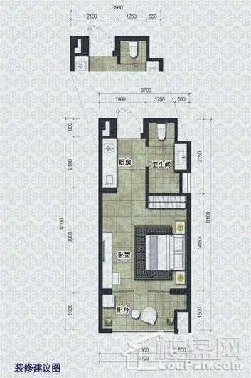 椰岛小城H2户型 1室1卫1厨
