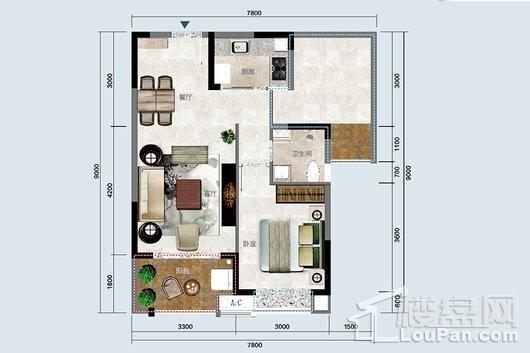 椰岛小城A户型 1室2厅1卫1厨