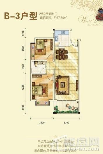 金融豪苑B-3户型图 2室2厅1卫1厨