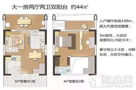 IFC海南国际度假村复式A户型 1室2厅2卫1厨