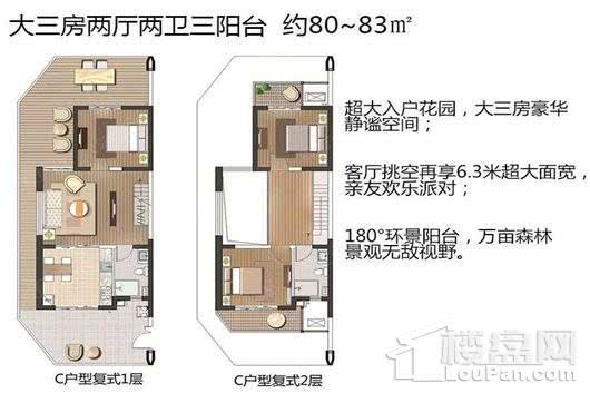 IFC海南国际度假村复式C户型 3室2厅2卫1厨