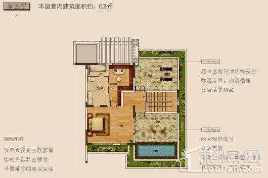 长弘·御墅F户型第五层 5室3厅5卫1厨