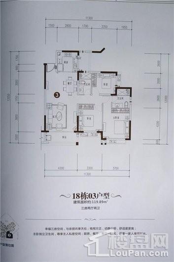 海口·恒大美丽沙0602地块户型3 3室2厅2卫1厨