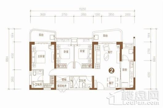 海口·恒大美丽沙1415地块户型4 3室2厅2卫1厨