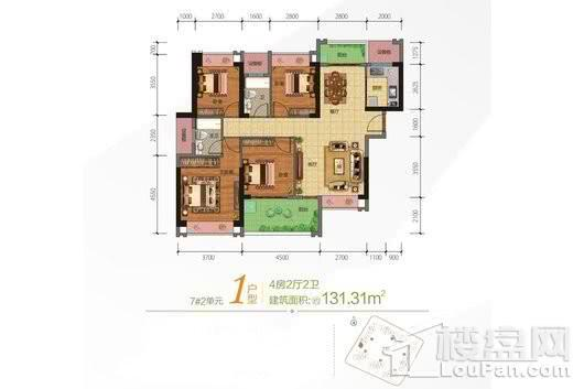 合隆·中央公园7号楼2单元01户型 4室2厅2卫1厨