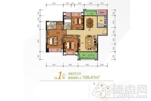 合隆·中央公园1号楼01户型 3室2厅2卫1厨