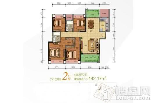 合隆·中央公园7号楼02户型 4室2厅2卫1厨